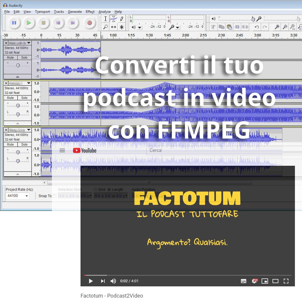 Podcast2Video convertire podcast in video con FFMPEG