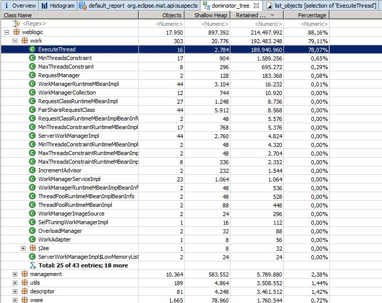 Classi Java nel Dominator Tree